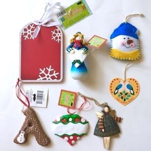 Lot of 7 Personalized Christmas Holiday Ornaments